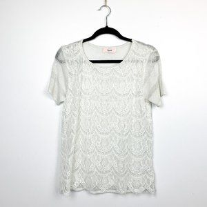 Hera Short Sleeve Glittery Vintage Floral Lace Top